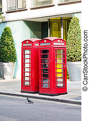 Two Red Phone Booths in London Street