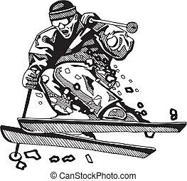 スキー, &, snowboarding