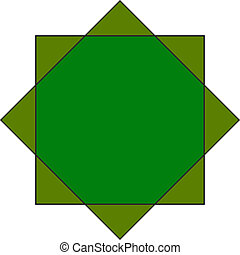 eight pointed star - eight pointed green star octagram...