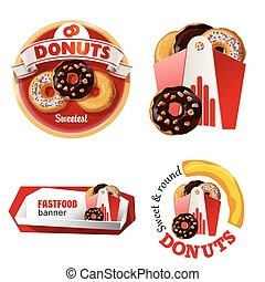Set beautiful cartoon icons and badges of fast food - Set of...