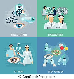 Oculist Ophthalmologist 4 Flat Icons Square - Oculist...
