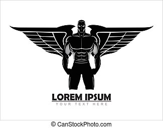 winged man. winged human silhouette. Bodybuilder silhouette