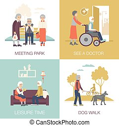 Old Age People Design Concept 2x2 - Old age people in...