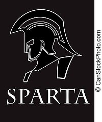 sparta warrior head. trojan, side view of knight head -...