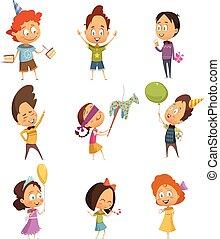 Kids Party Retro Icons Set - Cartoon retro icons set of kids...