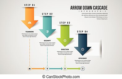 Arrow Down Cascade Infographic - Vector infographic...