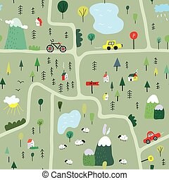 Funny map seamless pattern with nature, landscape and...