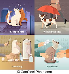 Pet Shop Concept Icons Set - Pet shop concept icons set with...