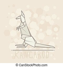 Vector illustration paper origami of kangaroo. - Vector...
