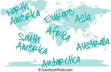 World map with continents, vector