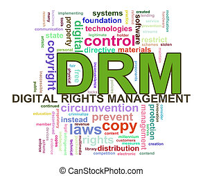 Wordcloud drm digital rights management - Illustration of...