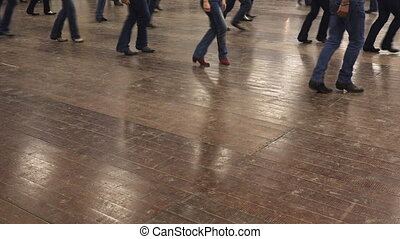 Line dance of western cowboy at american music festival