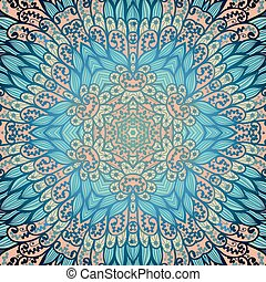 Hand drawn ethnic floral pink and blue ornamental pattern