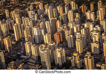 Sao Paulo skyline - Aerial view of Sao Paulo skyline near...