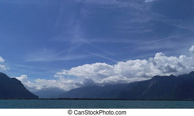 River lake landscape clouds - Bow river mountains nature...