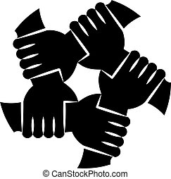 Human Hands Silhouettes Holding Eachother For Solidarity -...