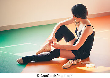 young woman dancer prepare for training
