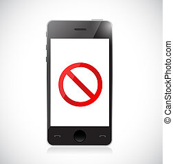 Smartphone with a negative sign. Dont. Illustration isolated...