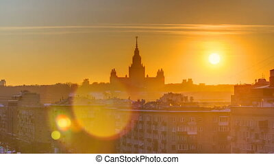 Sunset Moscow State University in winter timelapse top view...