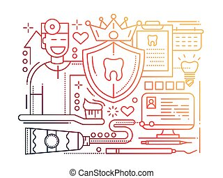 Dental Care - line flat design illustration