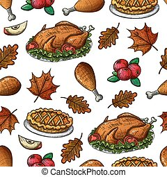 Seamless pattern with thanksgiving turkey