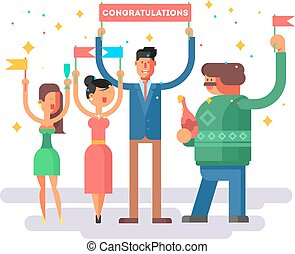Congratulations group people. Happy woman man, cheerful...