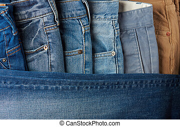 Jeans lay in order