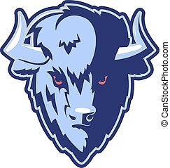 Buffalo Head Logo Mascot Emblem. Talisman college sports...