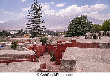 View on volcanoes from Santa Catalina monastery in Arequipa,...