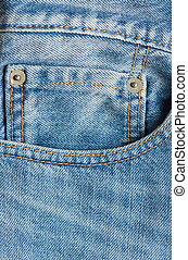 Mini pocket in blue jeans close up and stiches
