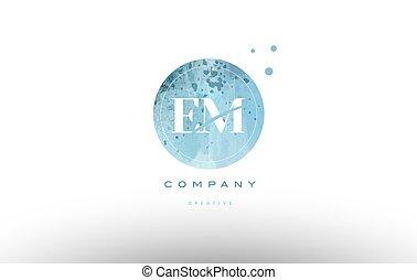 em e m watercolor grunge vintage alphabet letter logo - em e...