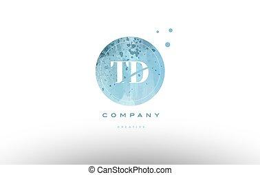 td t d watercolor grunge vintage alphabet letter logo - td t...