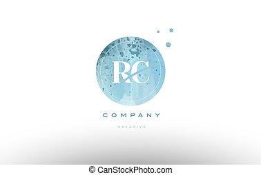 rc r c watercolor grunge vintage alphabet letter logo - rc r...