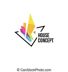 Isolated colorful real estate agency logo, house logotype on white, home concept icon, skyscrapers vector illustration.