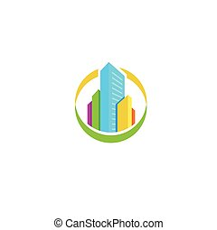Isolated colorful real estate agency logo, house logotype on...