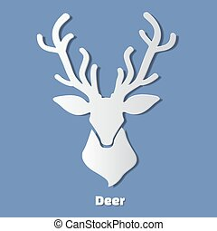 Paper deer head icon with shadow