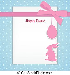 Easter background and seamless pattern with eggs, rabbits, birds