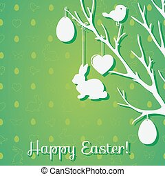Easter tree and seamless pattern with eggs, rabbits, birds, hear