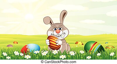 Easter Bunny Hunting Easter Eggs