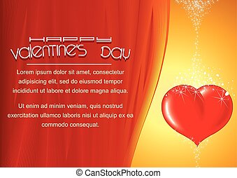Bright Valentines Day Background with Heart