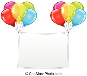 Blank Holiday Birthday Banner with Balloons