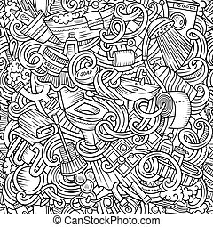 Cartoon cute doodles Bathroom seamless pattern - Cartoon...