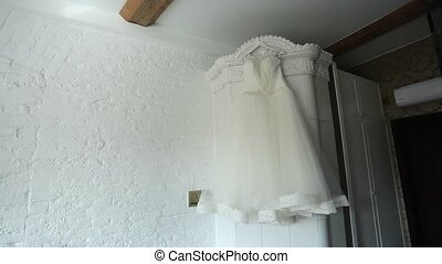 Wedding dress indoors - White wedding dress indoors shot