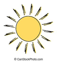 Doodle sun drawing icon illustration