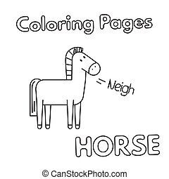 Cartoon Horse Coloring Book - Cartoon horse illustration....