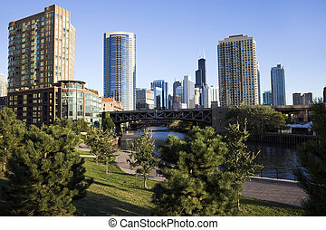Park by Chicago River