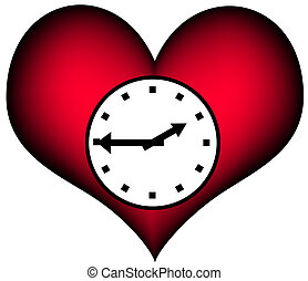 Lifetime - plastic heart with a clock A symbol for our...