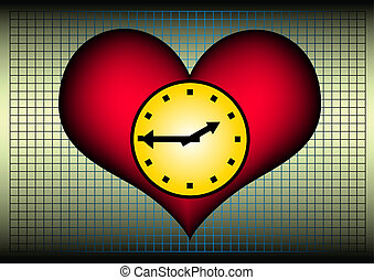 Lifetime - plastic heart with a clock. A symbol for our...
