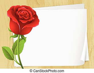 Frame design with red rose