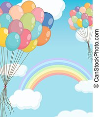 Background scene with balloons in the sky